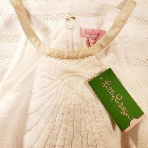 NEW LILY PULITZER WHITE SHELL STRIPE DRESS SZ 8